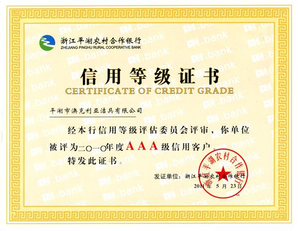 2010年信用等级证书